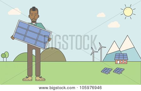 An african-american man with a solar panel in hands on a background with solar panels and wind turbines. Vector line design illustration. Horizontal layout with a text space for a social media post.