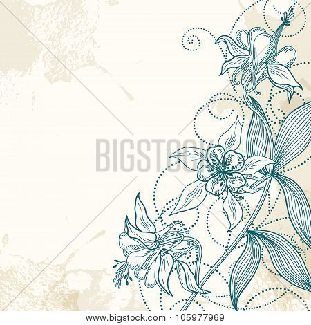 Vector card or invitation with abstract flowers on a grunge background.