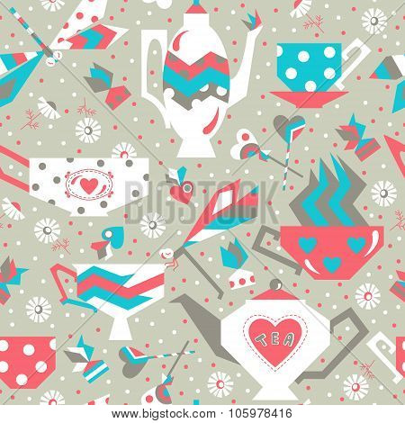 Stock vector seamless pattern with pottery tea sweets and dragonflies.