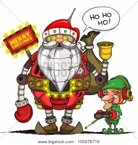 Robot Santa and elf with remote control. Isolated