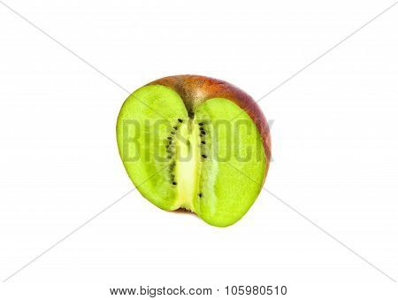 apple and kiwi genetically modified symbiosis. Isolated on white background