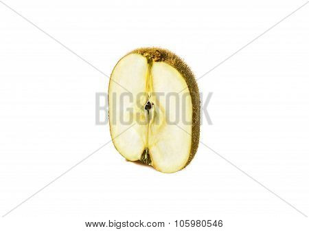 kiwi and apple genetically modified symbiosis. Isolated on white background