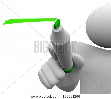 3d isolated man or person with green marker or pen underlining or writing to share or communicate a message