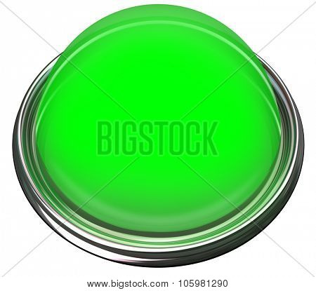 Green round 3d isolated button or light to catch or grab attention with a message or advertisement