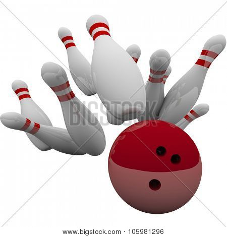 Red bowling ball striking pins in 3d isolation to illustrate winning game, success, victory and achievement