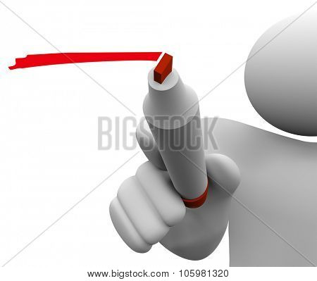 3d isolated man or person with red marker or pen underlining or writing to share or communicate a message