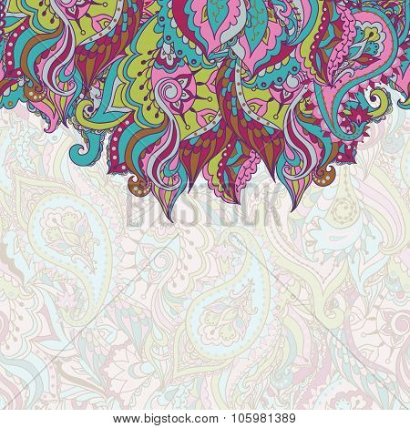 Stock vector card with seamless abstract motif on a background of paisley pattern in oriental style.