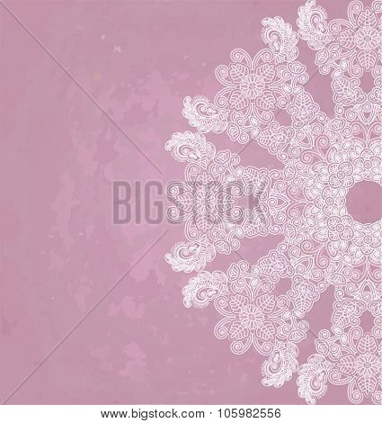 Lase Floral Design On Pink Spotty Background