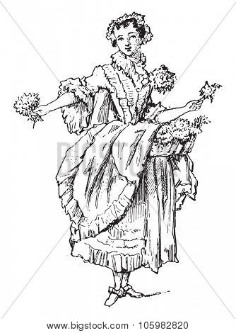 Jenny the flower, vintage engraved illustration. Magasin Pittoresque (1882).