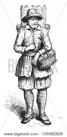 Cheesemaker merchant of Marolles, in 1680 approximately, vintage engraved illustration. Magasin Pittoresque (1882).