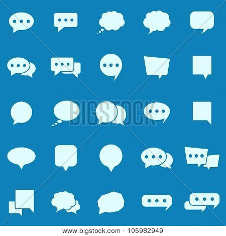 Speech Bubble Color Icons On Blue Background