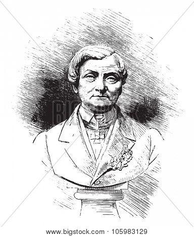 Caumont (1802-1873), vintage engraved illustration. Magasin Pittoresque 1882.
