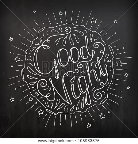 Doodle Typography Poster With Moon And Stars.