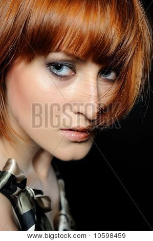 Beautiful Red Haired Woman With Fashion Bob Hairstyle And Smoky Make-up