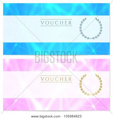 Gift certificate, Voucher, Coupon, Reward, Ticket template with sparkling twinkling stars