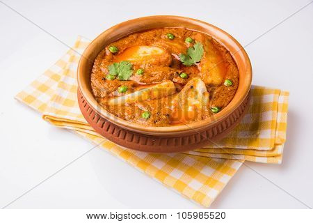 indian potato curry isolated on white background