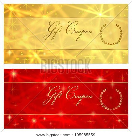 Gift certificate, Voucher, Coupon, Reward, Ticket template with stars