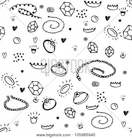 Simple seamless pattern with jewelry. Black and white colors. Endless texture for your design, announcements, postcards, posters.