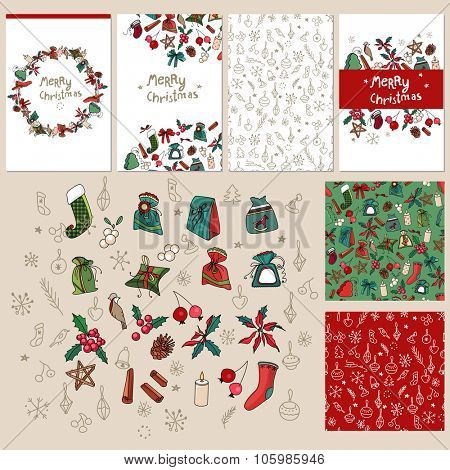 Set with traditional Christmas templates.For festive design, announcements, postcards, posters.
