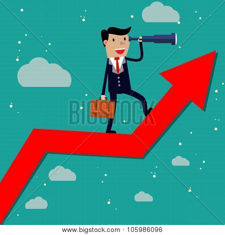 Businessman stand on arrow graph