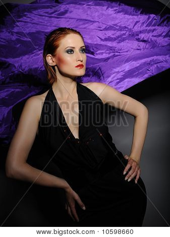 Beautiful Fashion Model Woman In Black Dress