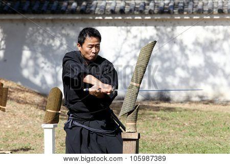 Japanese samurai with katana sword