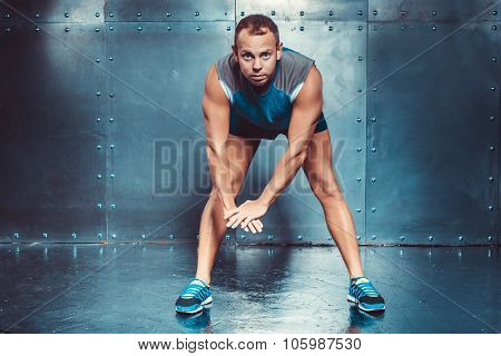 Sportsmen. Fit Male Trainer Man Concept  Fitness Workout Strenght Power.
