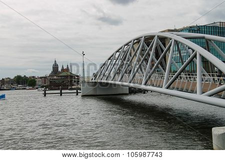 Pedestrian Bridge To The Nemo Museum In Amsterdam