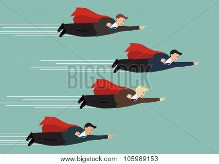 Businessman Superhero Fly Competition