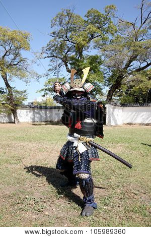 Samurai japanese clothing uniform with katana sword