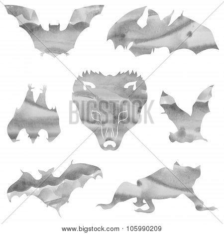 Watercolor set of bats.