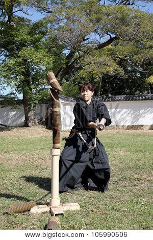 Japanese martial art with katana sword