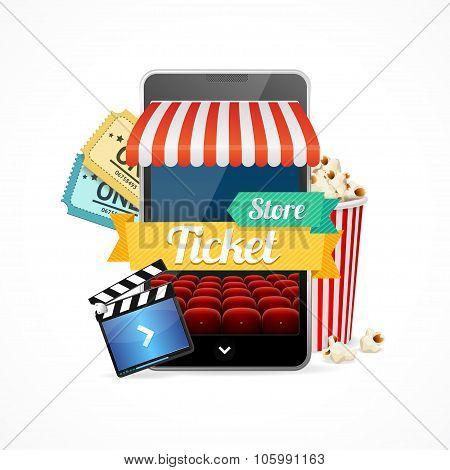 On-line Cinema Concept. Vector