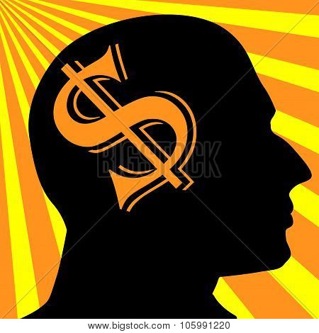 Man Silhouette Vector.dollar Symbol Business Concept