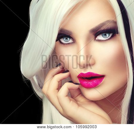 Beauty Fashion Girl black and white style. Long White Hair with Black Stripes. Smoky Eyes Makeup. Black Nails, vivid make-up