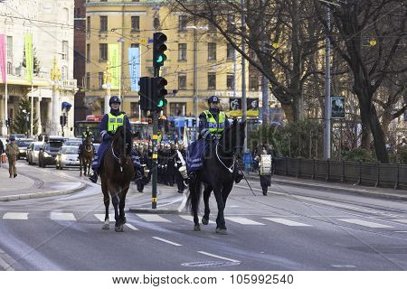 Female Police Officers On Horseback In Stockholm