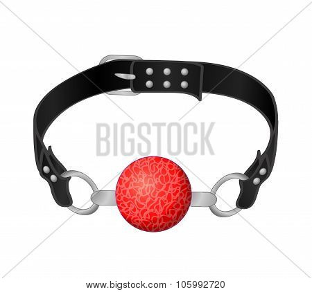 Red Silicone Ball Gag With A Leather Belt