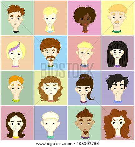 Set 16 Vector Images Of People's Faces