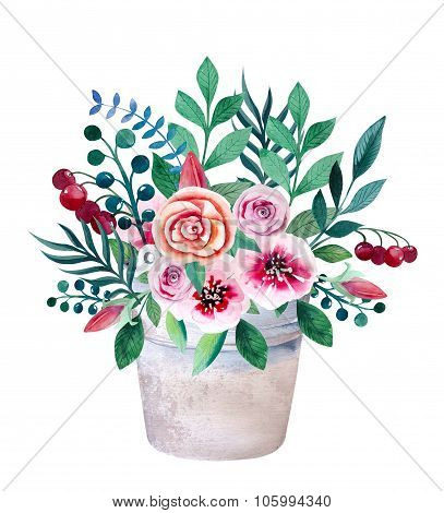 Watercolor bouquets of flowers in pot. Rustic floral set