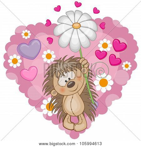 Hedgehog With Hearts And Flower