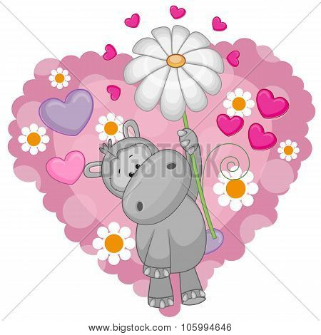 Hippo With Hearts And Flower