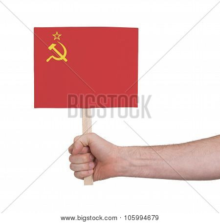 Hand Holding Small Card - Flag Of The Ussr