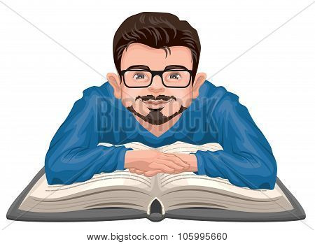 Man reading book. Young man in glasses placed his hands on an open book