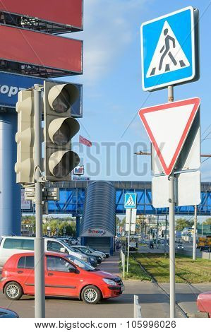 Pedestrian Crossing Sign And Traffic Light