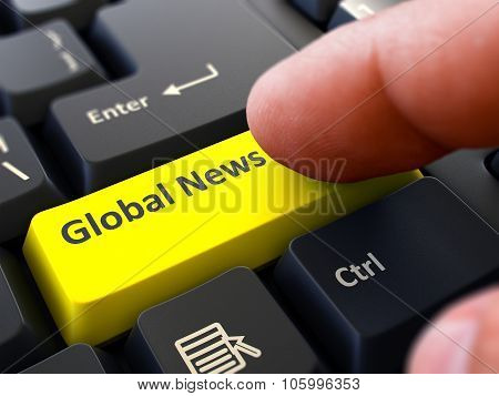 Global News Concept. Person Click Keyboard Button.