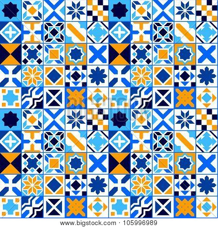 Colorful geometric tiles seamless pattern in blue orange and white, vector
