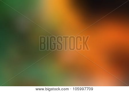 Orange Abstract Image Of Green Blurred Background