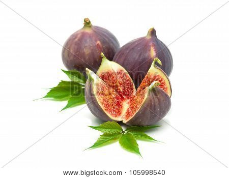 Juicy Figs Closeup On A White Background