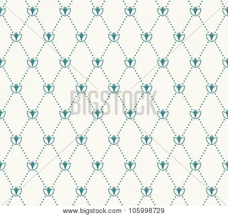 Vector seamless pattern. Modern stylish texture. Geometric tiles with dotted rhombus in vintage floral style