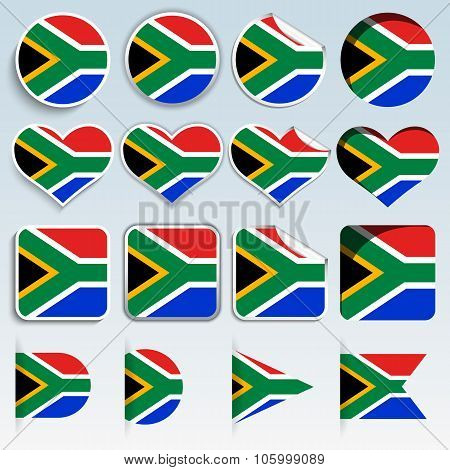 Set Of South Africa Flags In A Flat Design